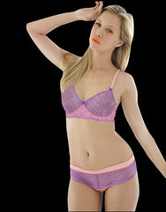 Daiquiri Lilac Lace & Silk Underwire Bra