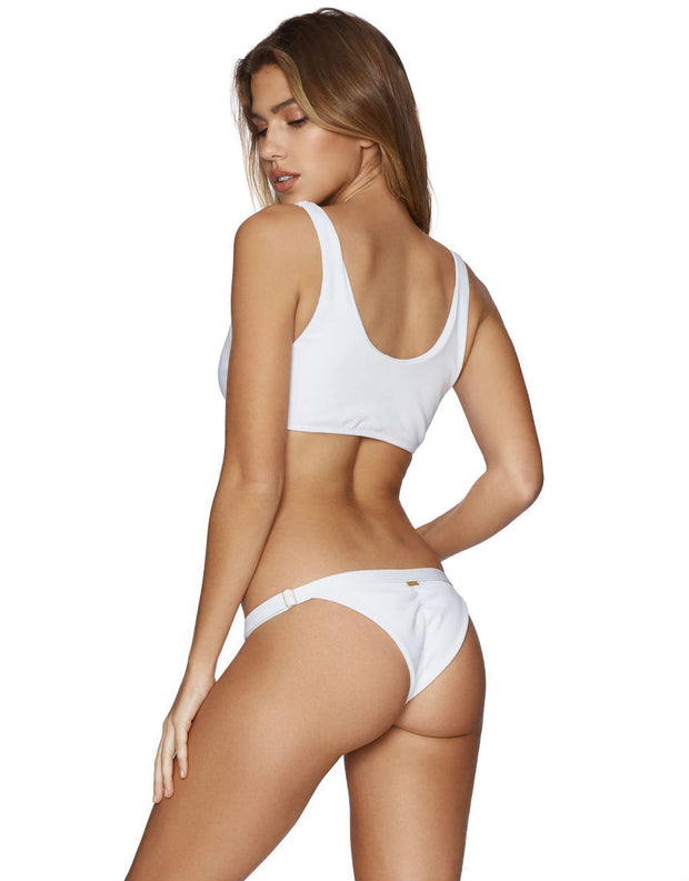 Beach Bunny Swimwear Rib Tide Knot Skimpy Bikini Bottom in White