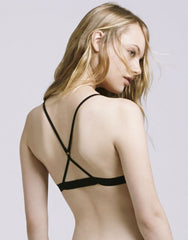 Organic Cotton Sheer Tulle Bralette in Black