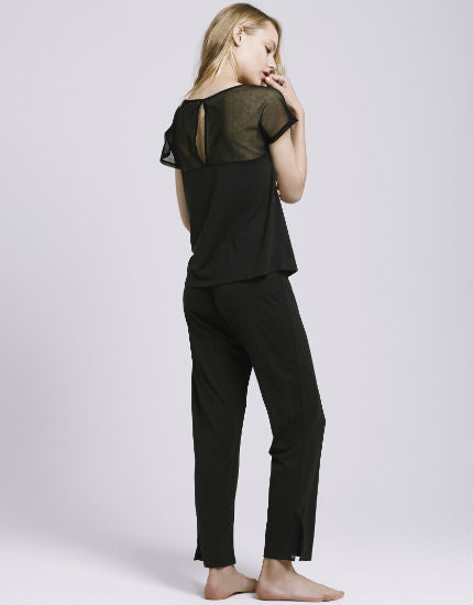 Organic Cotton Tulle Trim Crop Pant in Black