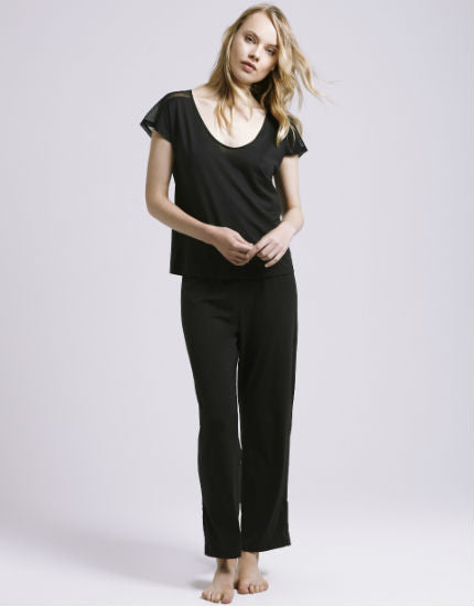 skin black crop pima cotton pant