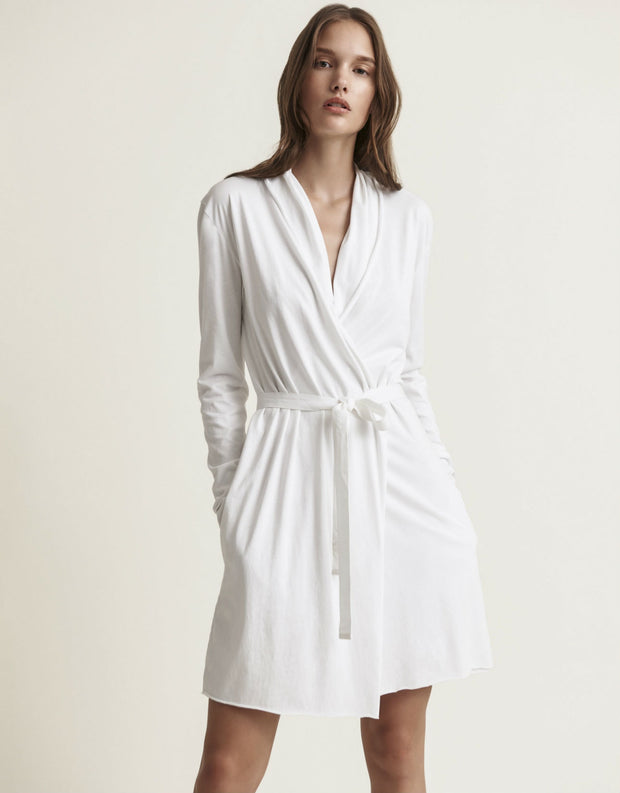 Skin Double Layer Wrap Robe in White