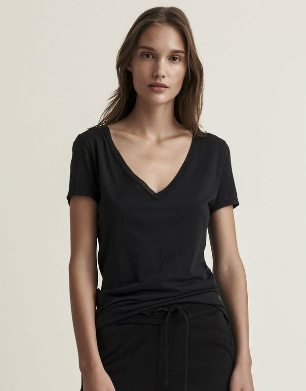 Skin Pima Cotton V Neck Easy Tee in Black
