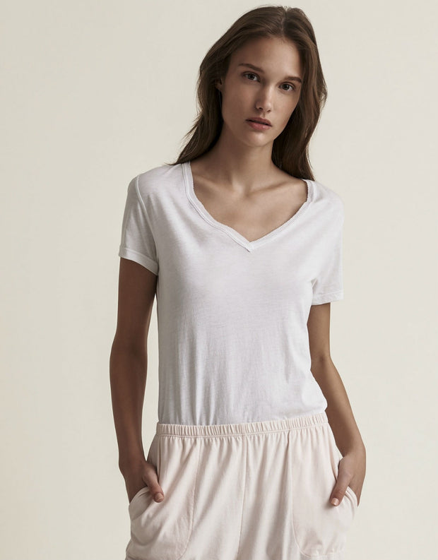 Skin Pima Cotton V Neck Easy Tee White