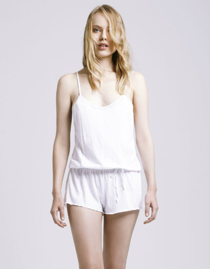 Organic Cotton Tulle Trim Romper in White