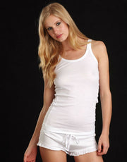 Skin lingerie white cotton rib tank