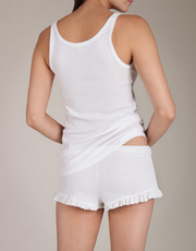 Pima Cotton Rib Raffaela Short in White and Grey