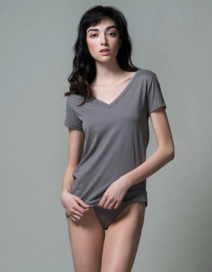 Pima Cotton V Neck Easy Tee in Grey