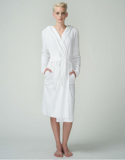 Hooded Terry Robe in White