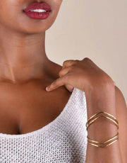 Soko Double Arrow Cuff in Hammered Brass