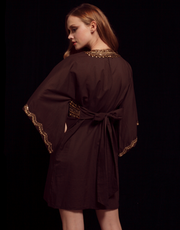 Brown Cotton Embellished Kaftan Dress