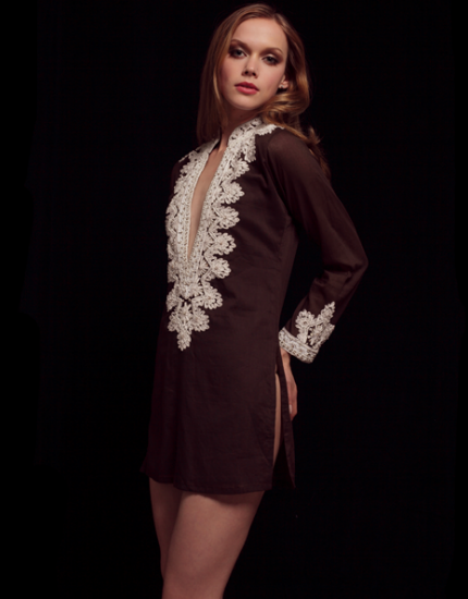 Brown Cotton Embellished Tunic