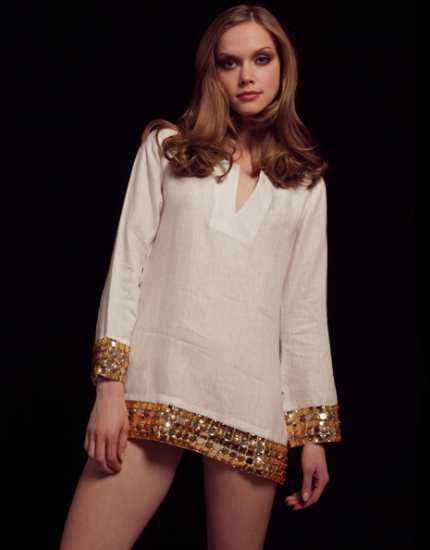 Cream & Bronze Linen Tunic