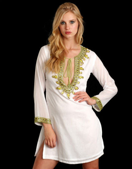 White and Lime Cotton Tunic