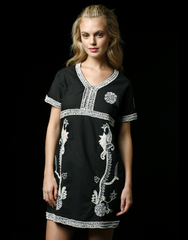Embellished Black Cotton Dress