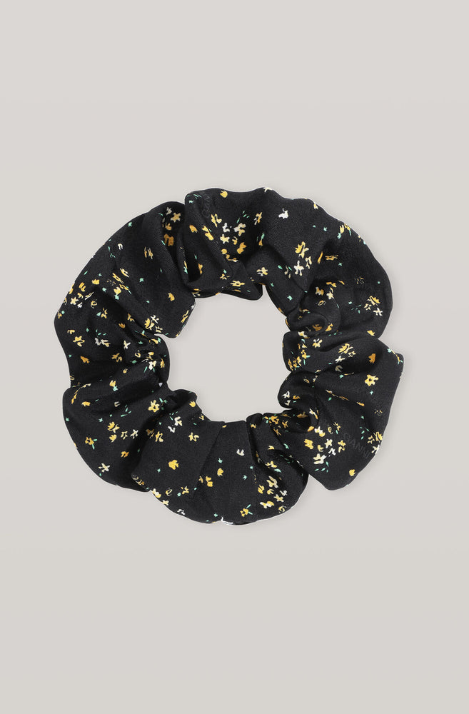 Load image into Gallery viewer, Black Printed Crepe Scrunchie