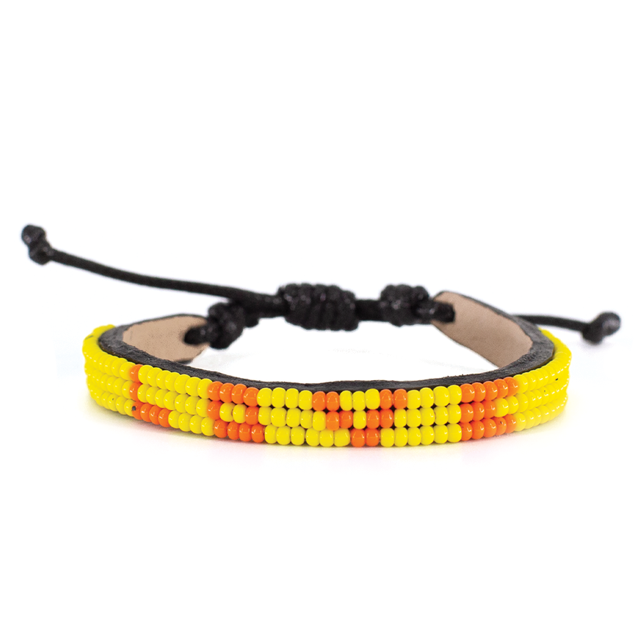 3 Row Bright Yellow/Orange Love Bracelet