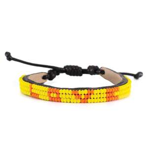 Load image into Gallery viewer, 3 Row Bright Yellow/Orange Love Bracelet