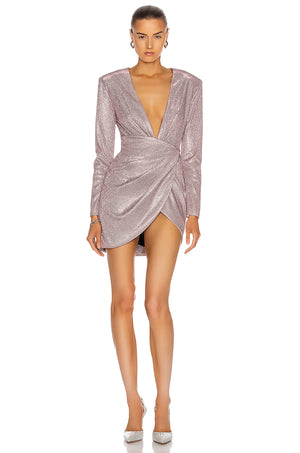 Plunging Wrap Mini Dress