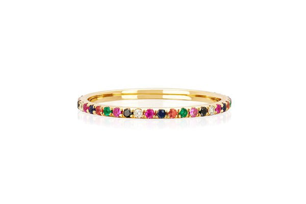 14K Rainbow Eternity Band Ring