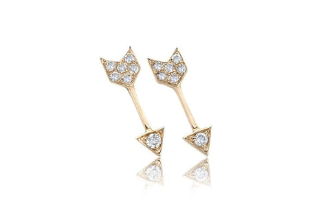 14K Diamond Mini Single Arrow Stud