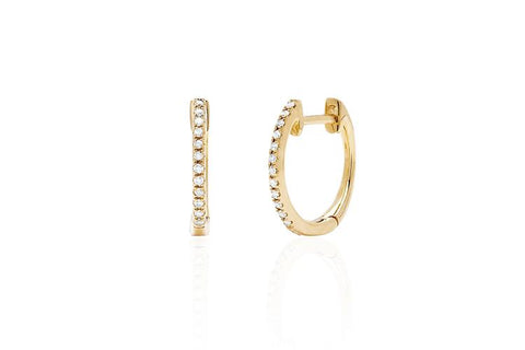 14K Single Diamond Huggie Earring