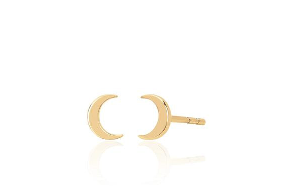 14K Mini Moon Stud
