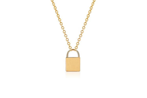 14K Gold Lock Necklace
