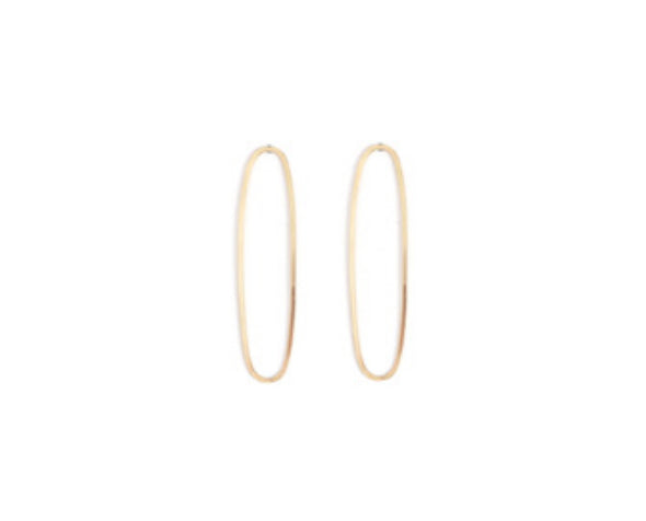 14K Gold Elongated Oval Stud Earring