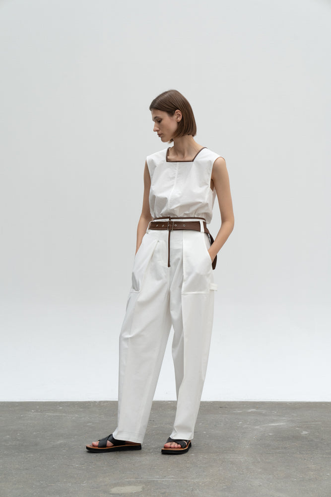 Load image into Gallery viewer, Leather Combi Volume Pocket Pants