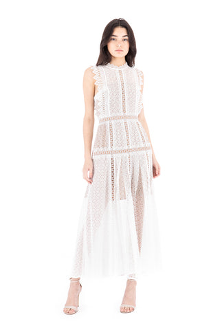 White Lace Panel Midi Dress