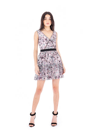 Load image into Gallery viewer, Constellation Sleeveless Tiered Mini Dress