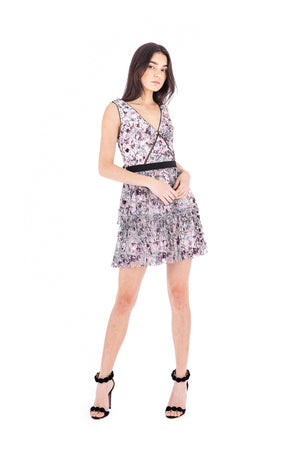 Constellation Sleeveless Tiered Mini Dress