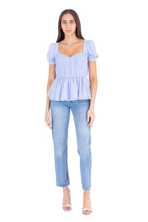 Load image into Gallery viewer, Light Blue Short Sleeve Chiffon Top