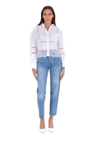 White Cotton Poplin Lace Trim Shirt