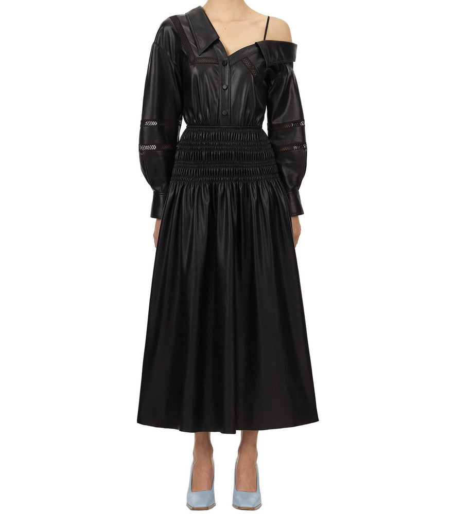 Load image into Gallery viewer, Faux Leather Off Shoulder Midi Dress