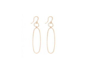 14K Karat Gold Elliptical Dangle Earring