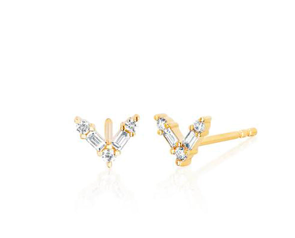 Load image into Gallery viewer, 14K Diamond Baguette Chevron Stud
