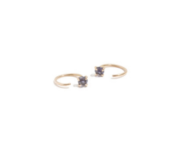 14K Yellow Gold Iolite Hug Earring