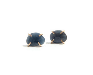14K Yellow Gold Blue Sapphire Freeform Post Earring