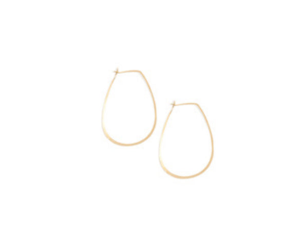 14K Gold Tear Drop Hoop