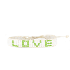Load image into Gallery viewer, 5 Row White/Lime Green Love Woven Bracelet