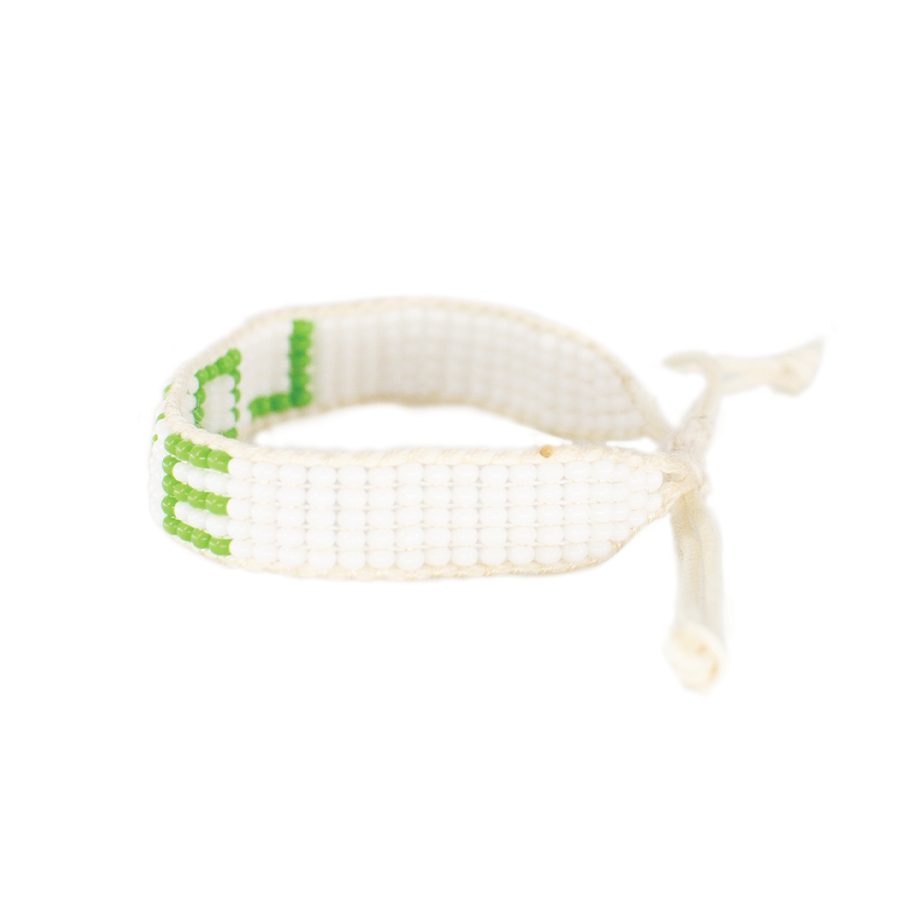 5 Row White/Lime Green Love Woven Bracelet