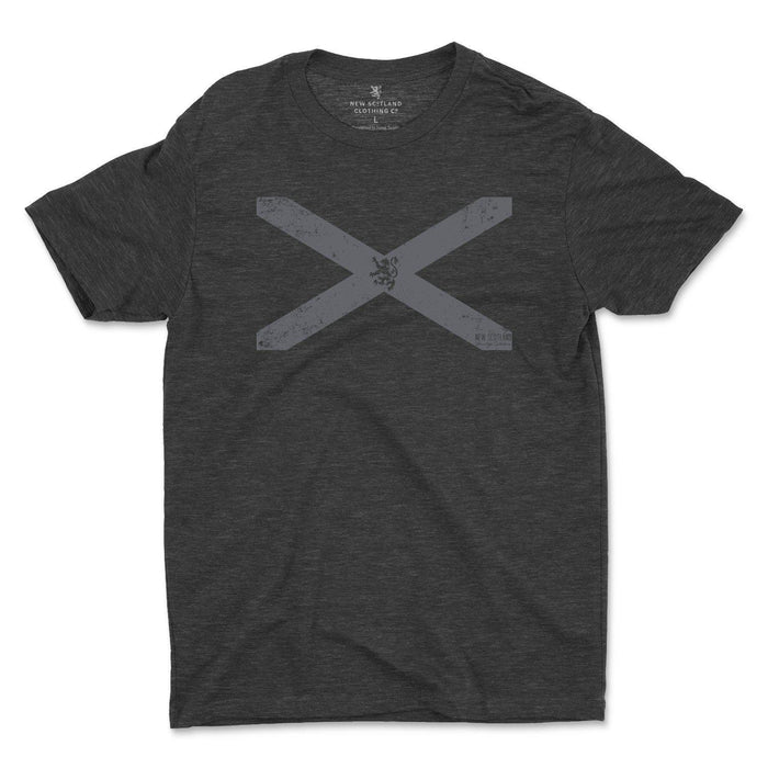 50/50 Organic Recycled Vintage St. Andrew's Cross T-shirt in Heather Black