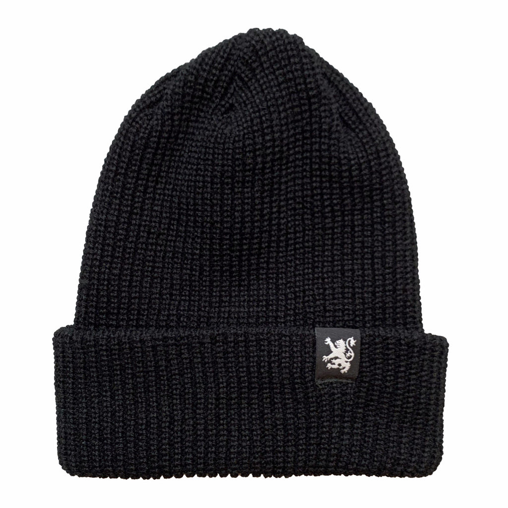 Classic Lion Waffle Knit Toque in Black