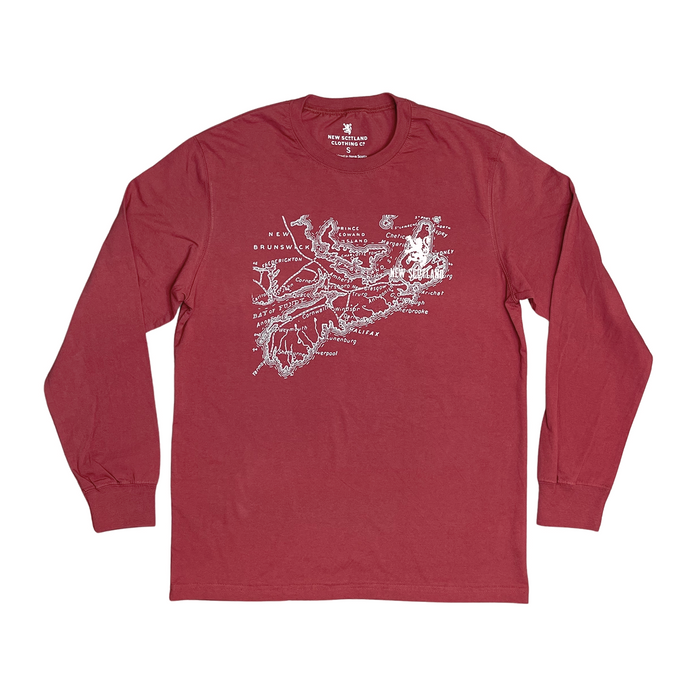 Original Old Map Long Sleeve Tee in Harvest Red