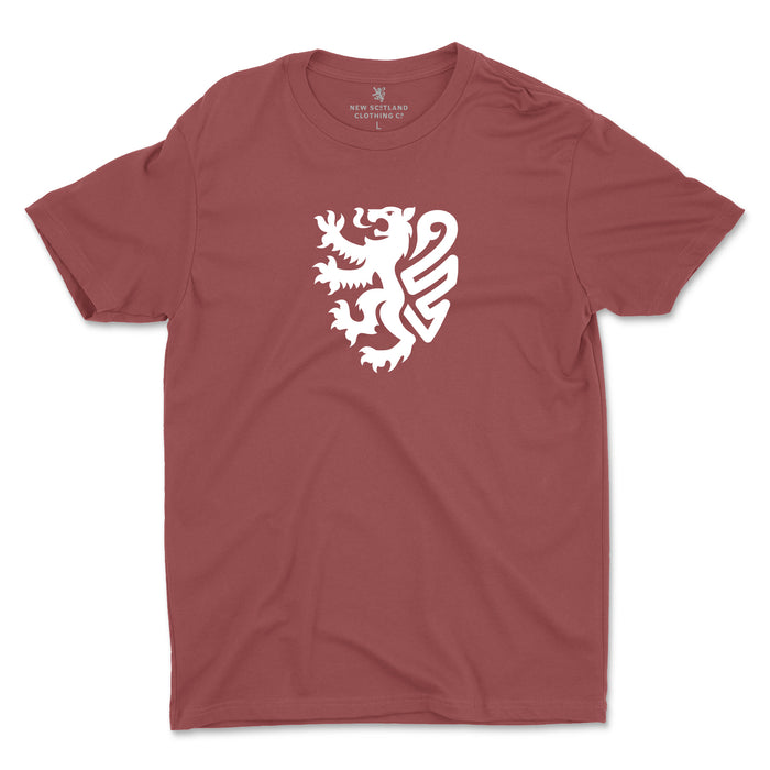 100% Organic Modern Lion T-Shirt in Washed Burgundy