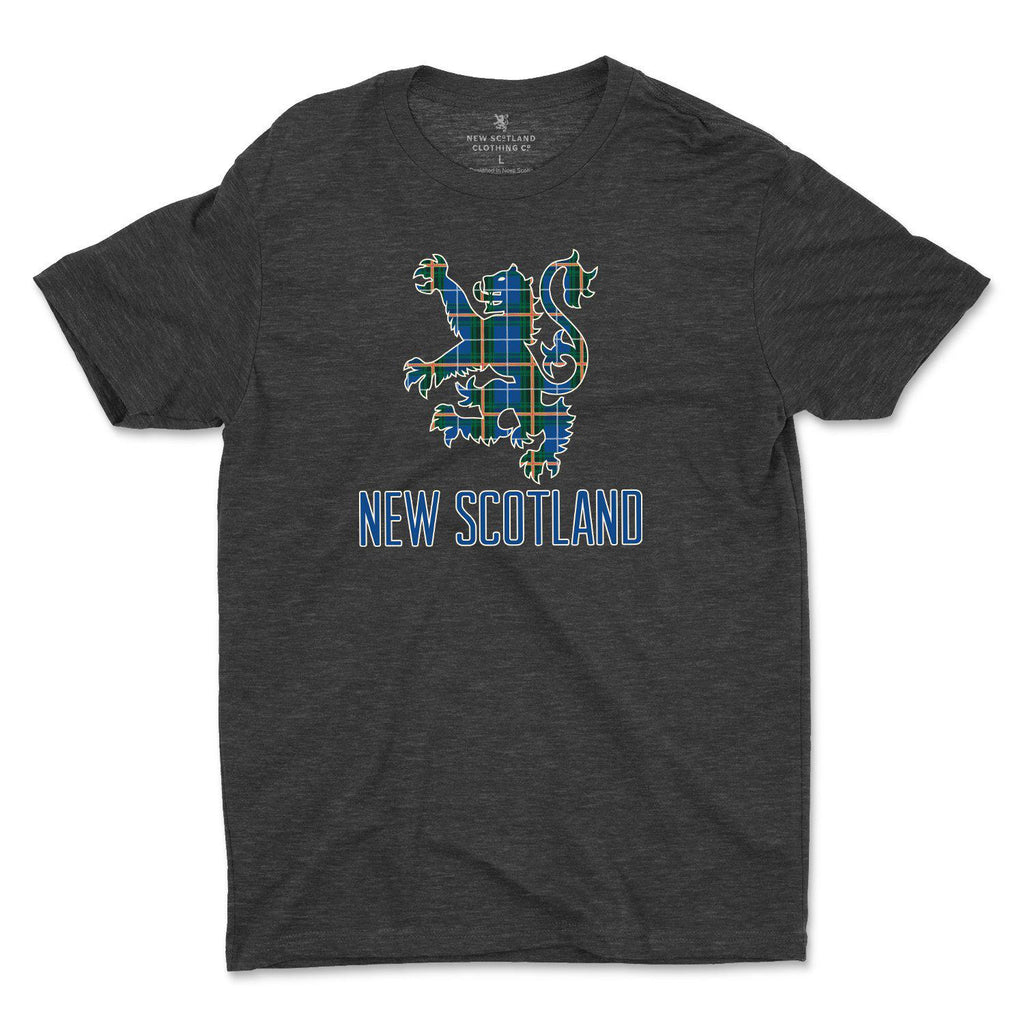 50/50 Organic Recycled Nova Scotia Tartan Lion T-shirt in Heather Black
