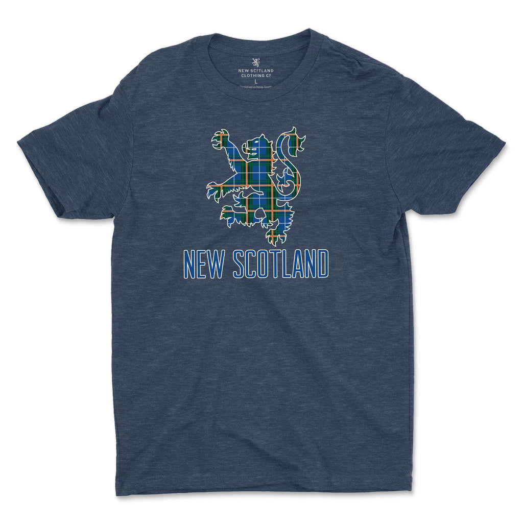 50/50 Organic Recycled Nova Scotia Tartan Lion T-shirt in Heather Navy