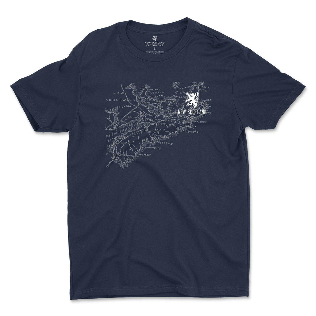 100% Organic Old Map T-Shirt in Navy